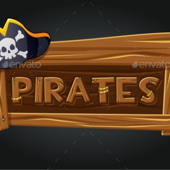 Logo Pirates on a Wooden Old Board