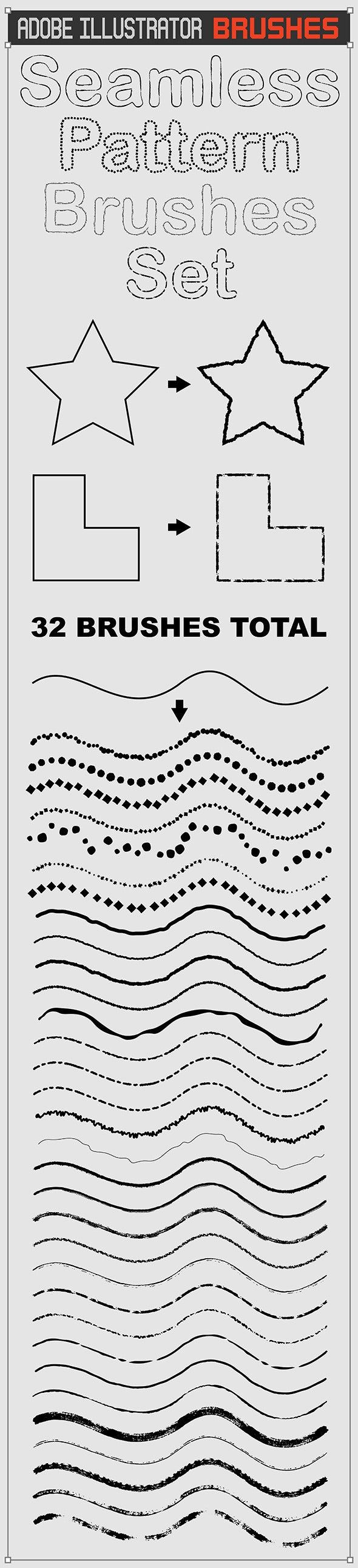 Seamless 32 Ink Sketch Outline Brushes - Artistic Brushes