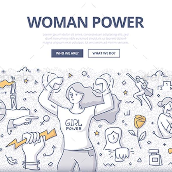 Woman's Power Doodle Concept