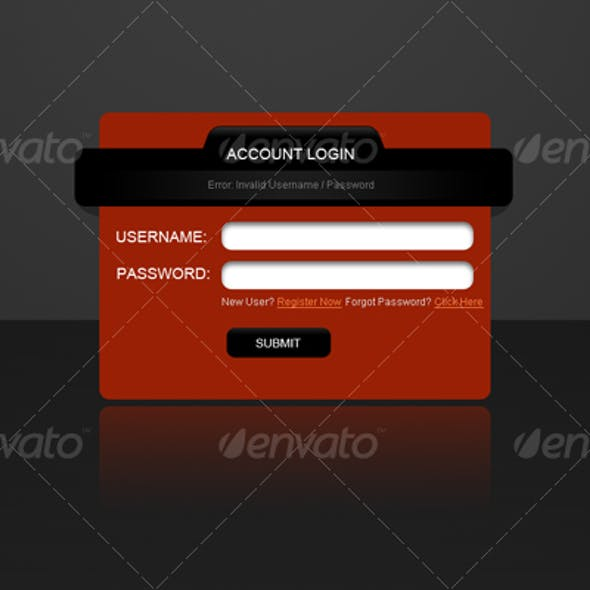 web 2.0 standard stylish login screen