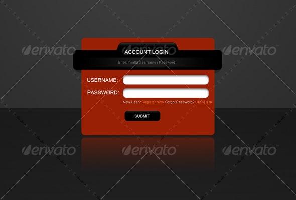 web 2.0 standard stylish login screen - Decorative Graphics