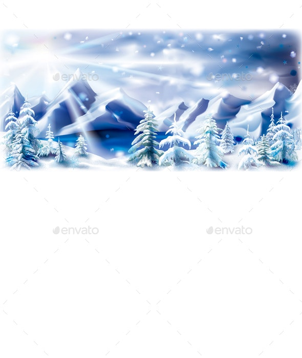 Winter Mountains Lake Landscape with Snowy Trees - Landscapes Nature