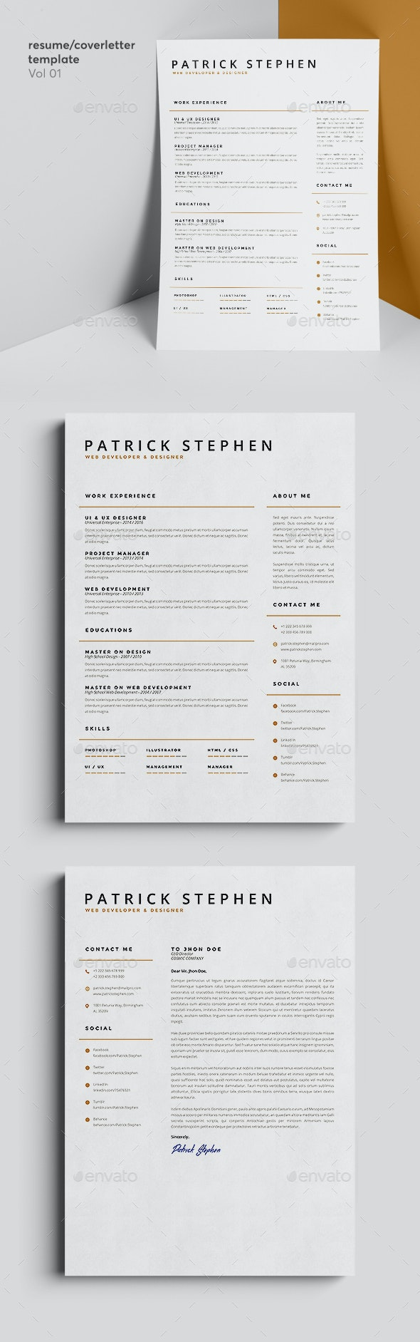 Resume/Coverletter Template Vol 01 - Resumes Stationery