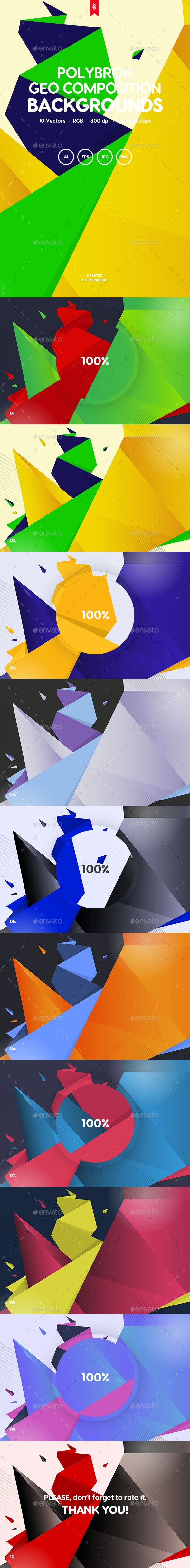 Polybrok - Geometric Composition Backgrounds - Backgrounds Graphics
