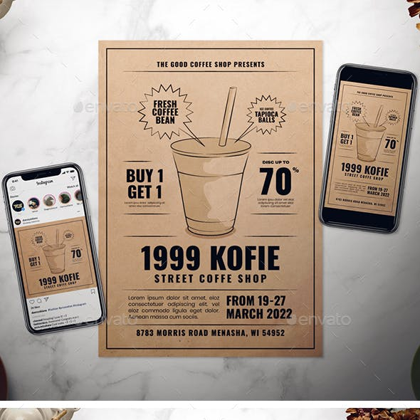 Coffee Shop Promotion Flyer Set