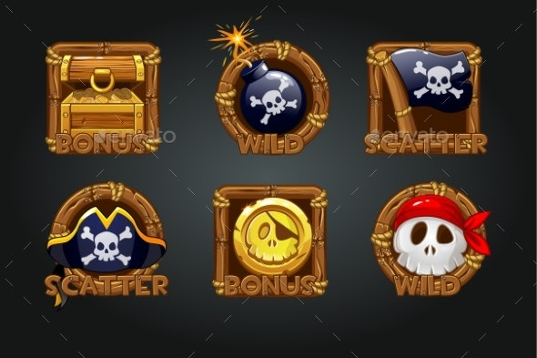 Pirate Icons in Wooden Frames for Slots - Miscellaneous Vectors