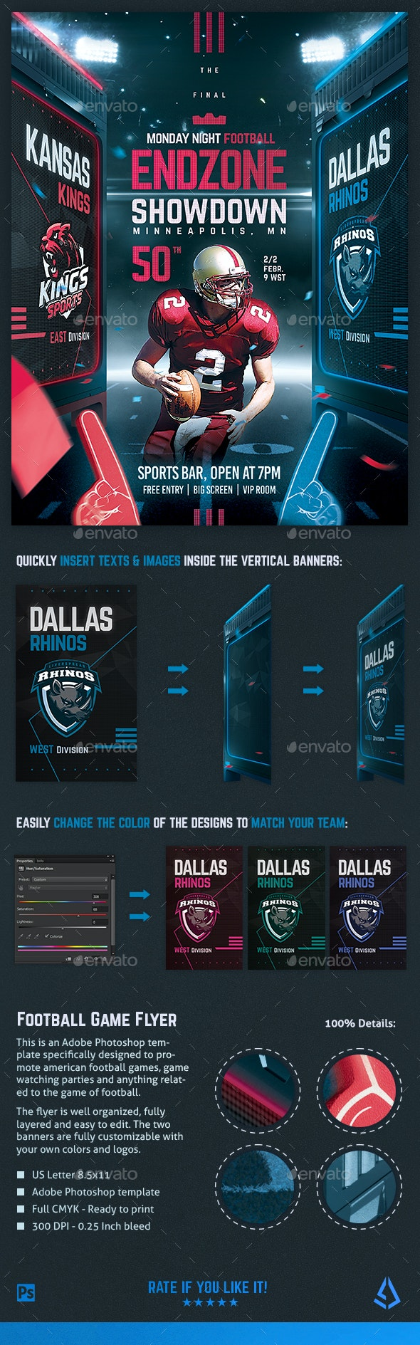 Football Superball Flyer v8 American Football Poster Template - Sports Events