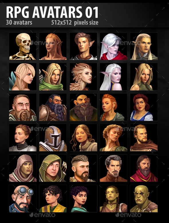 RPG Avatars 01 - Miscellaneous Game Assets