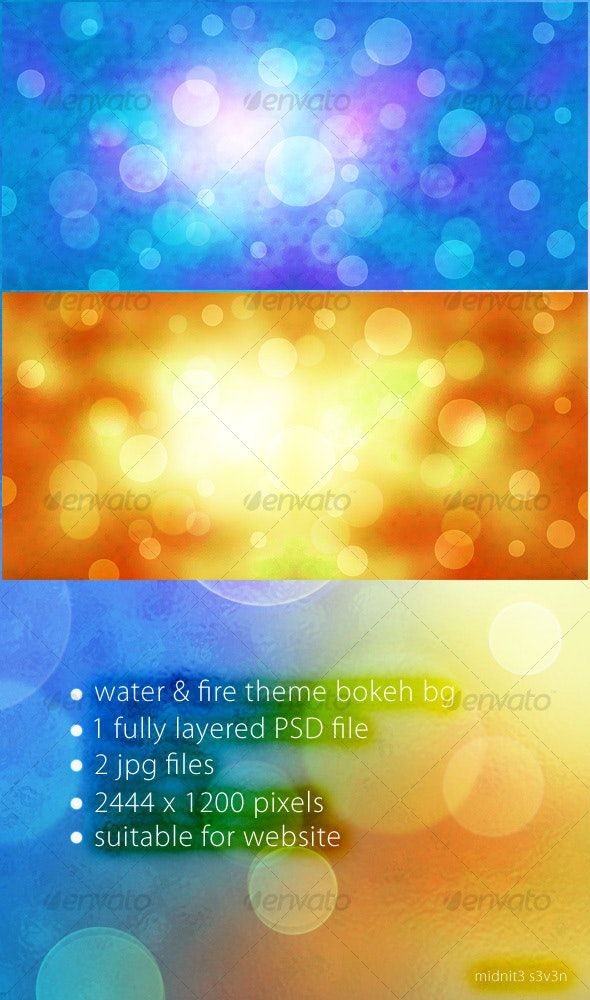Water & Fire Theme Bokeh Background - Backgrounds Graphics