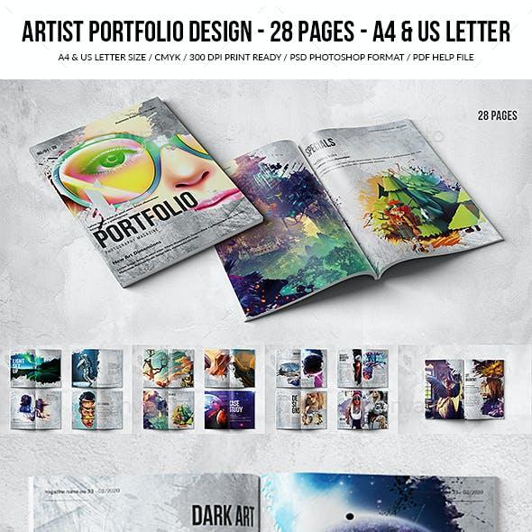 Artist 28 pgs Portfolio Design - A4 & US Letter