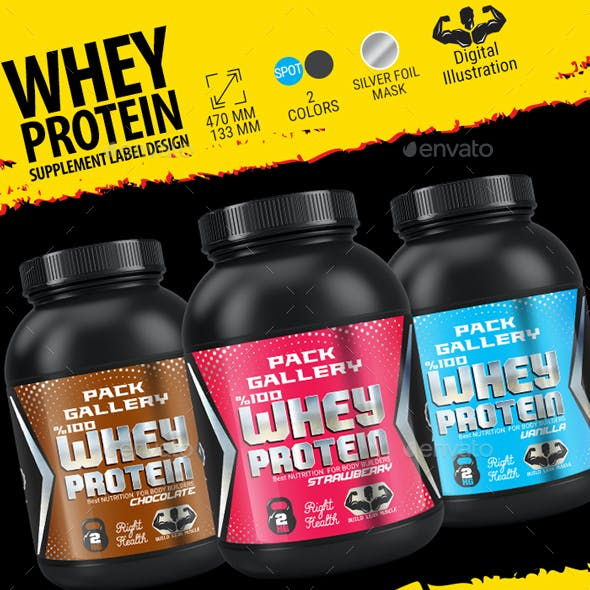 Whey Protein Supplement Lable Design.(Chocolate, Vanilla, Strawberry)