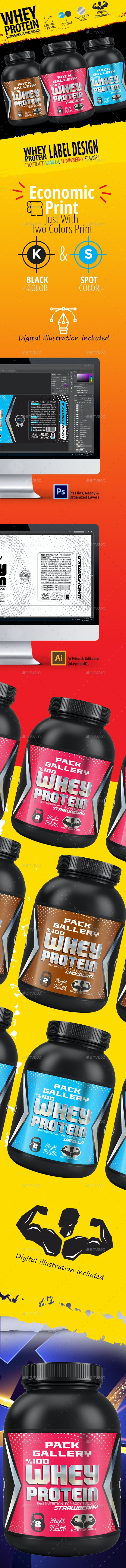 Whey Protein Supplement Lable Design.(Chocolate, Vanilla, Strawberry) - Packaging Print Templates