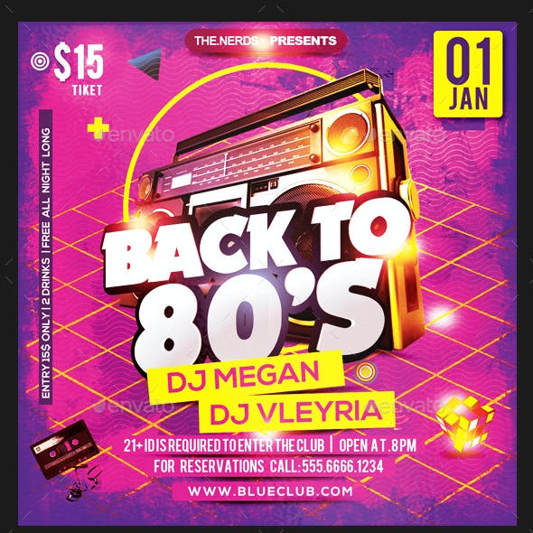 Back to 1980s Party Flyer