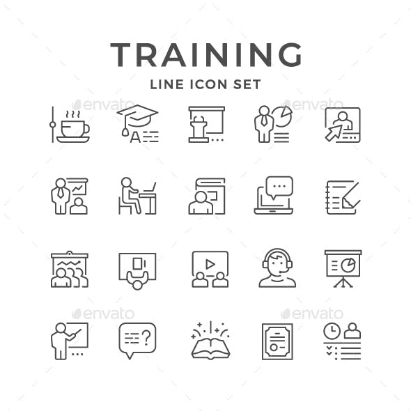 Set Line Icons of Training