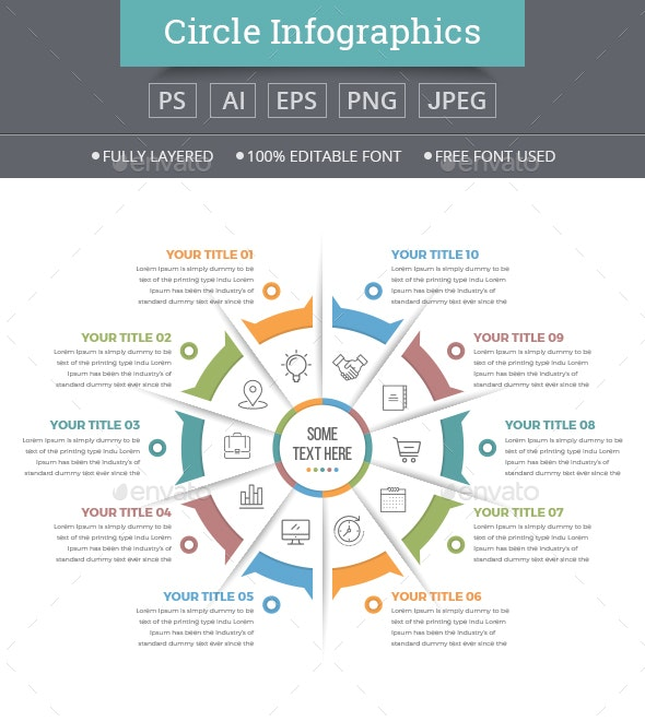 Business Circle Infographics with 10 Steps - Infographics