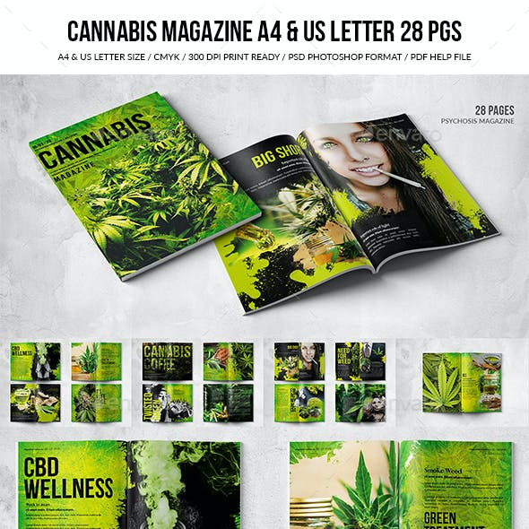 Cannabis Magazine Design - A4 & US Letter - 28 Pages