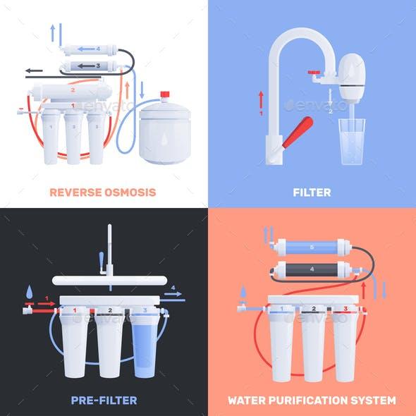 Water Filter Flat Icon Set