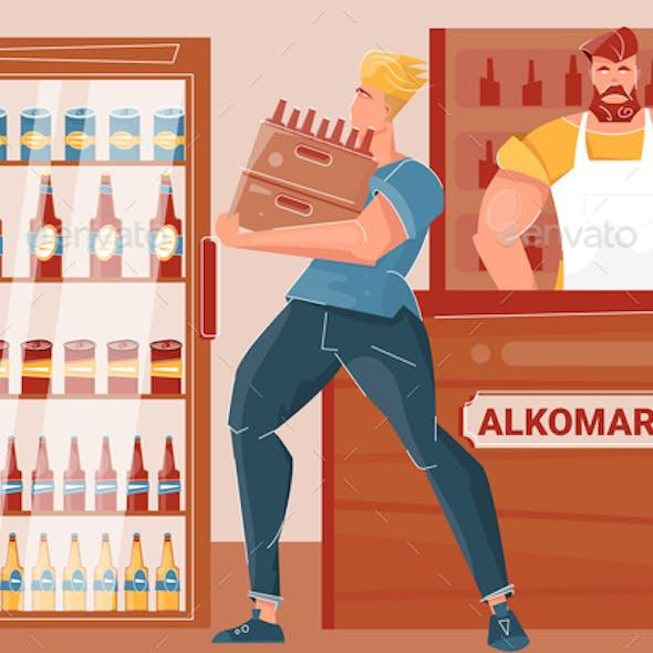 Beer Market Flat Illustration