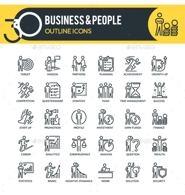 Business Outline Icons - Business Icons