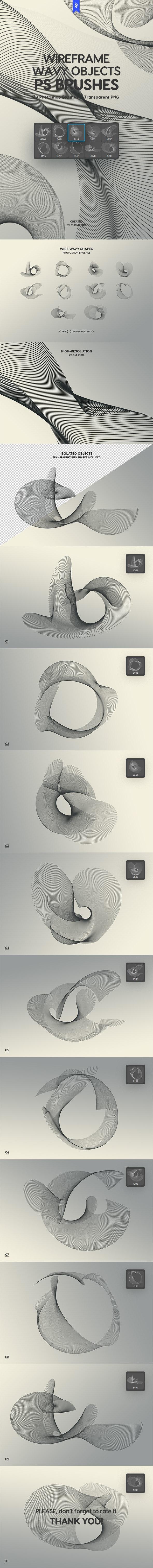 Wireframe Wavy Objects Photoshop Brushes - Techno / Futuristic Brushes