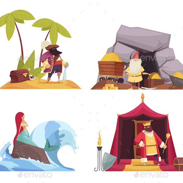 Fairy Tale Characters Concept Icons Set