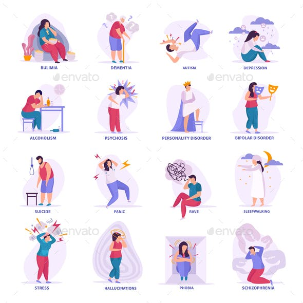 Mental Disorders Flat Icons