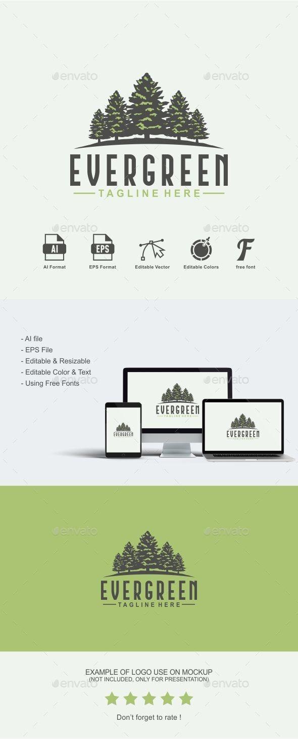 Evergreen Logo - Tree Logo - Nature Logo Templates
