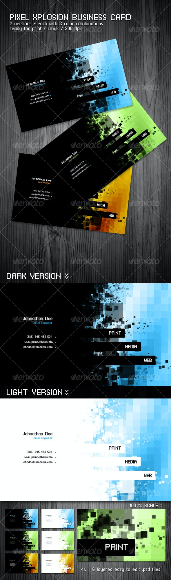 Pixel Xplosion Modern Business Card - Creative Business Cards