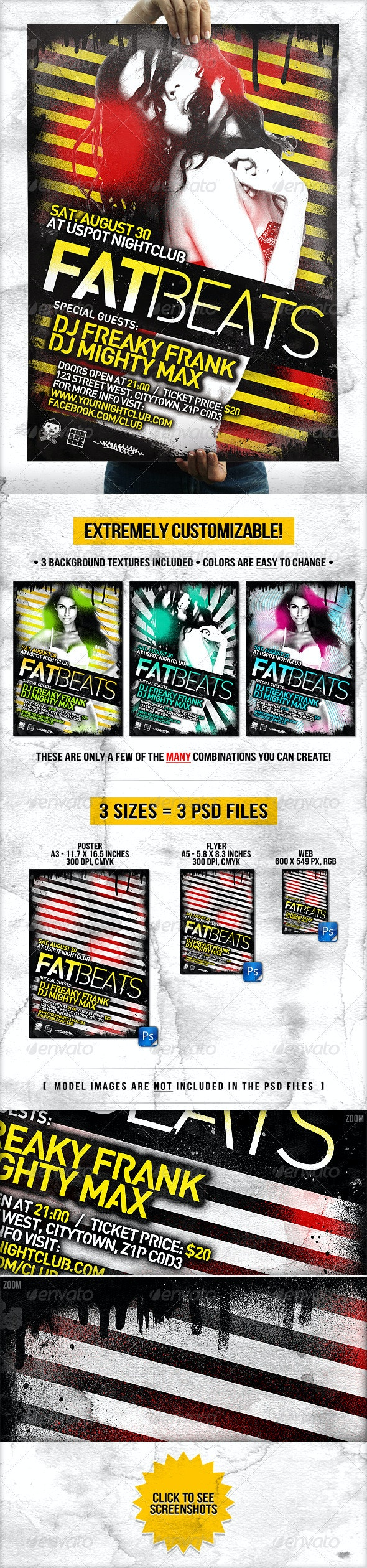 Dirty Flyer and Poster // Extremely Adjustable - Clubs & Parties Events