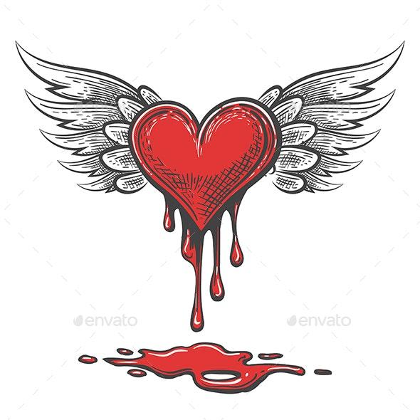 Cartoon Bleeding Heart With Wings - Tattoos Vectors
