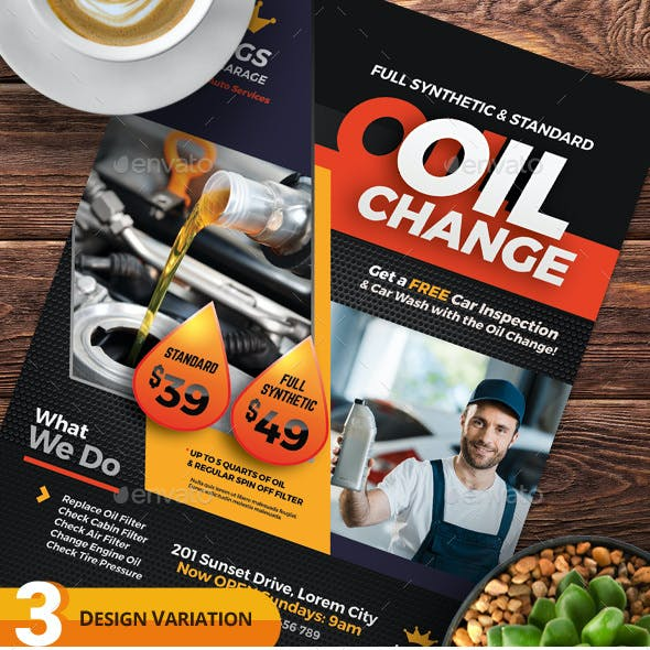 Oil Change Service Flyer Templates