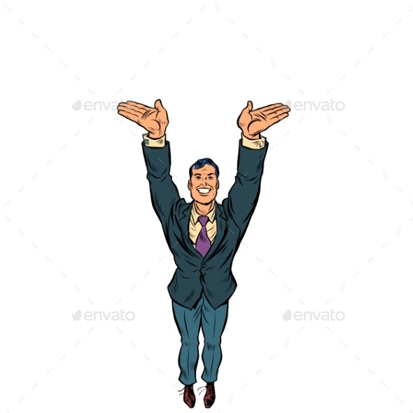 Businessman Hands Up - People Characters
