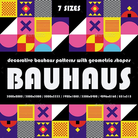 Decorative Bauhaus Patterns with Geometric Shapes