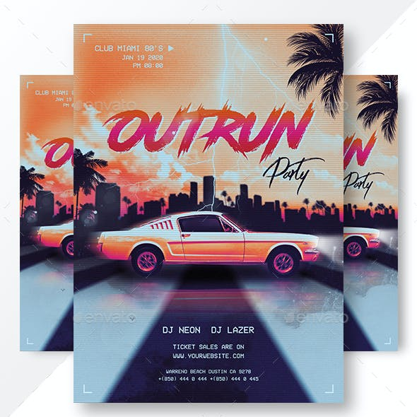 Retrowave 80's Synthwave Flyer & Instagram Banners