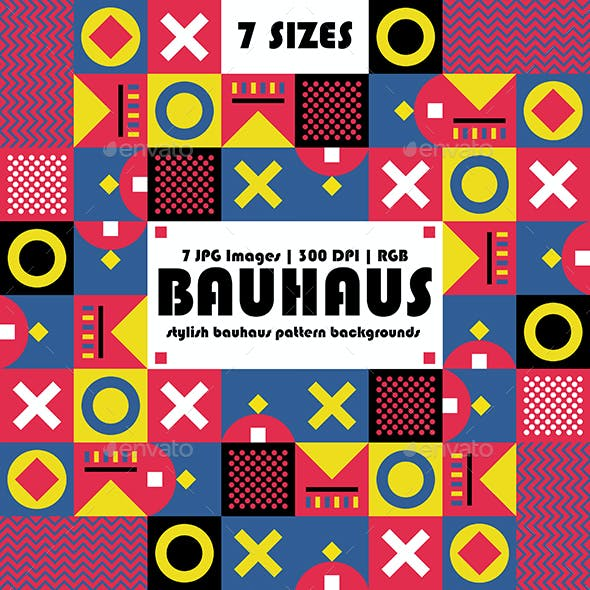 Geometric Bauhaus Style Backgrounds Patterns