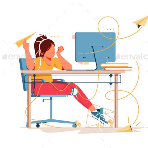Woman Having Boring Weekdays and Throw Paper