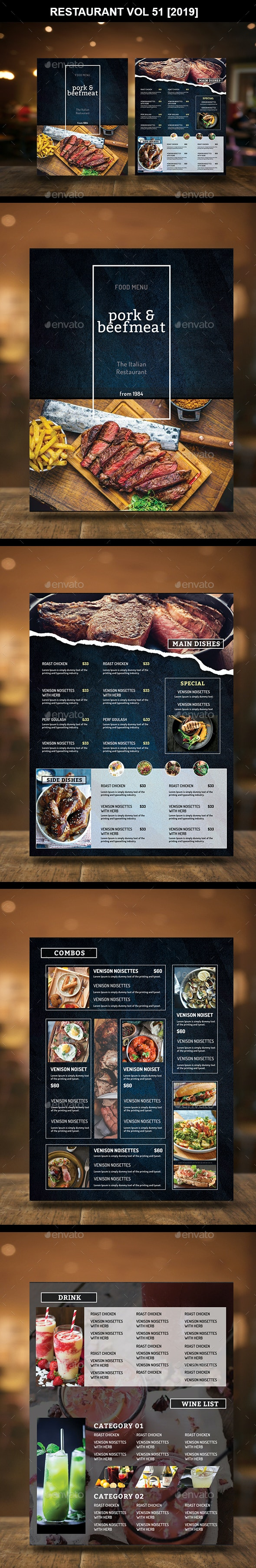Restaurant Menu Vol 51 - Food Menus Print Templates