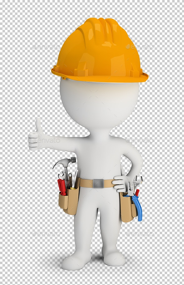 3D Small People - Repairman with Tool Belt - Characters 3D Renders