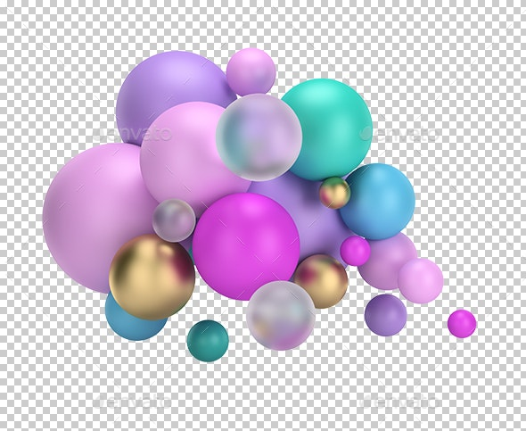 Multicolored Balls - Objects 3D Renders