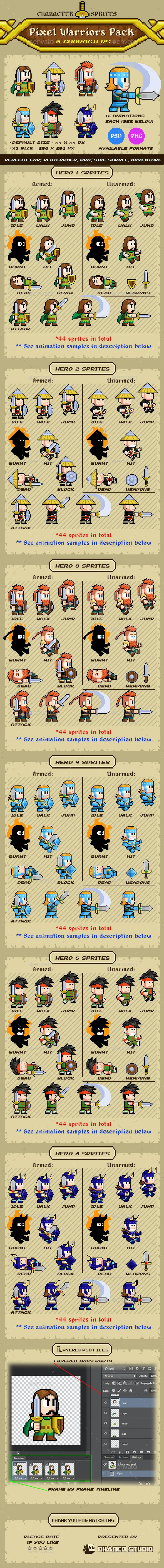 Pixel Warriors - 6 Characters Pack - Sprites Game Assets