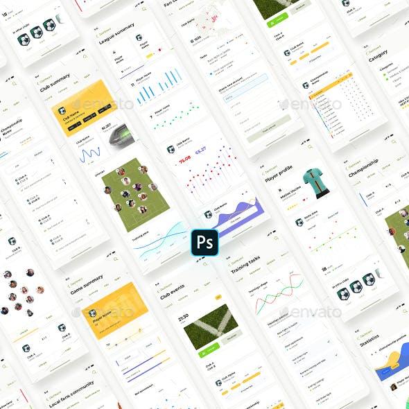 Liga – Soccer mobile app for Photoshop