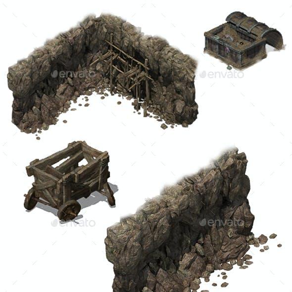Village Environment Construction Kit PSD Game Assets 3D Renders Texture