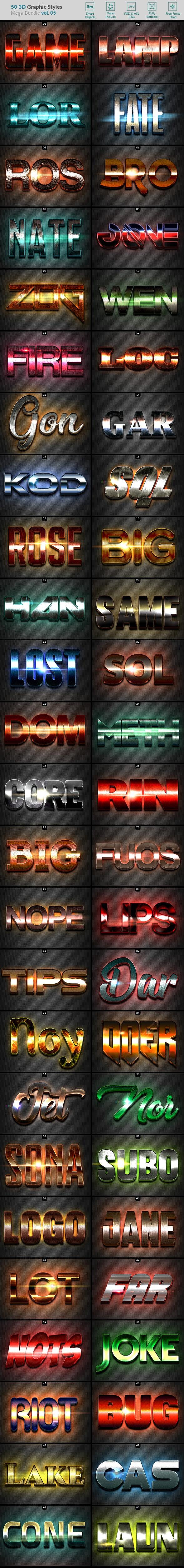 50 3D Text Effects - Bundle Vol. 05 - Styles Photoshop