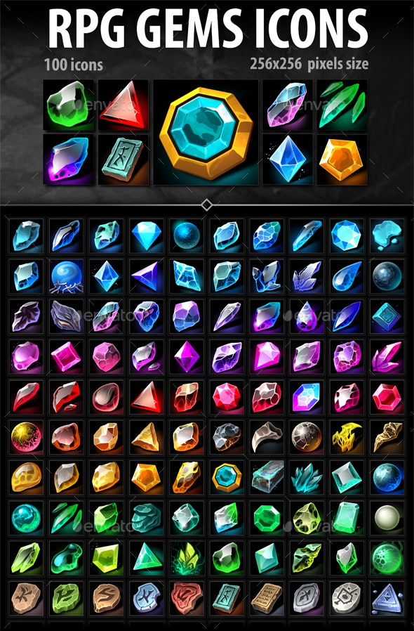 RPG Gems Icons - Miscellaneous Game Assets