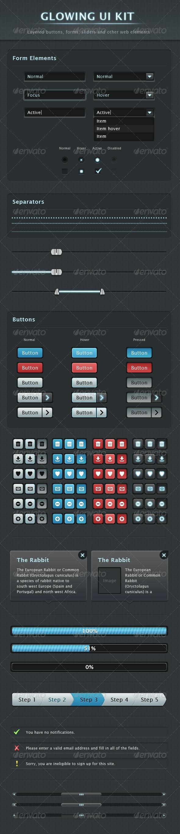 Glowing UI Kit - User Interfaces Web Elements