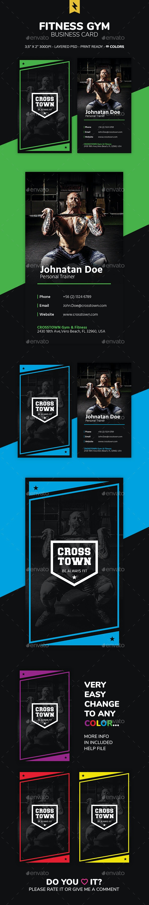 Fitness Gym Business Card - Business Cards Print Templates