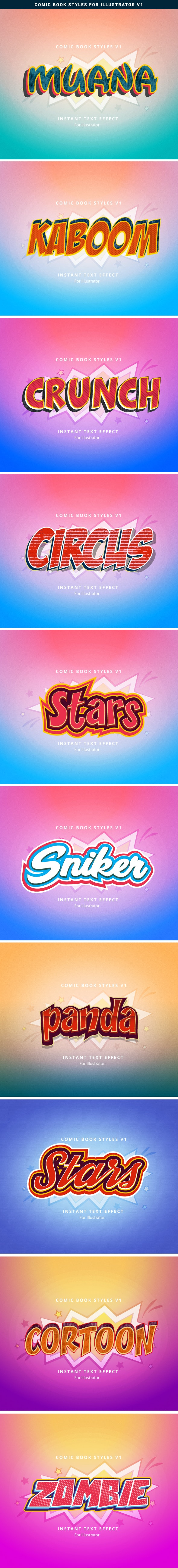 Comic Book Text Effects - Styles Illustrator