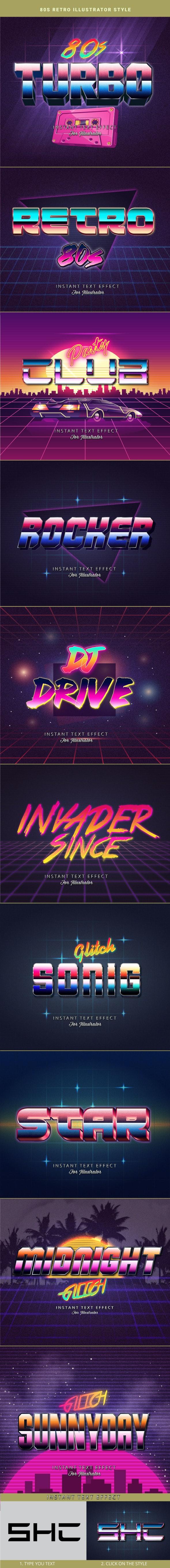 80s Retro Text Effects for Illustrator V2 - Styles Illustrator