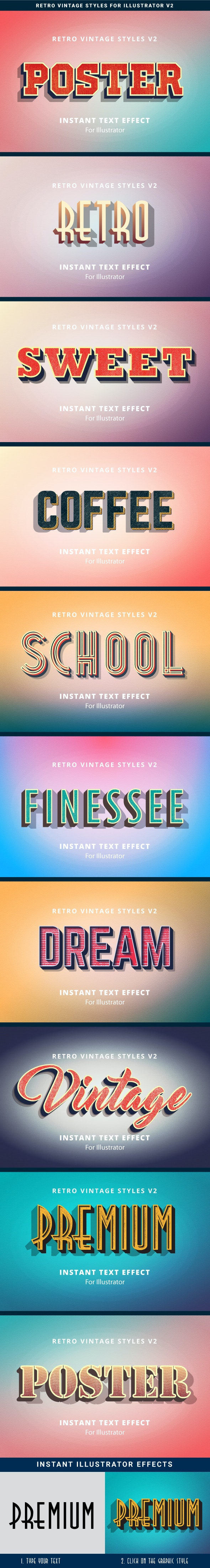 Retro Vintage Text Effects v2 - Styles Illustrator