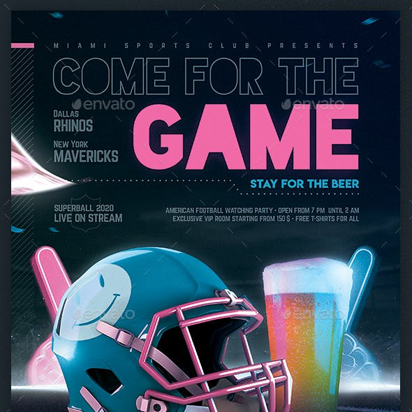 Football Game Flyer v9 American Football Party Template